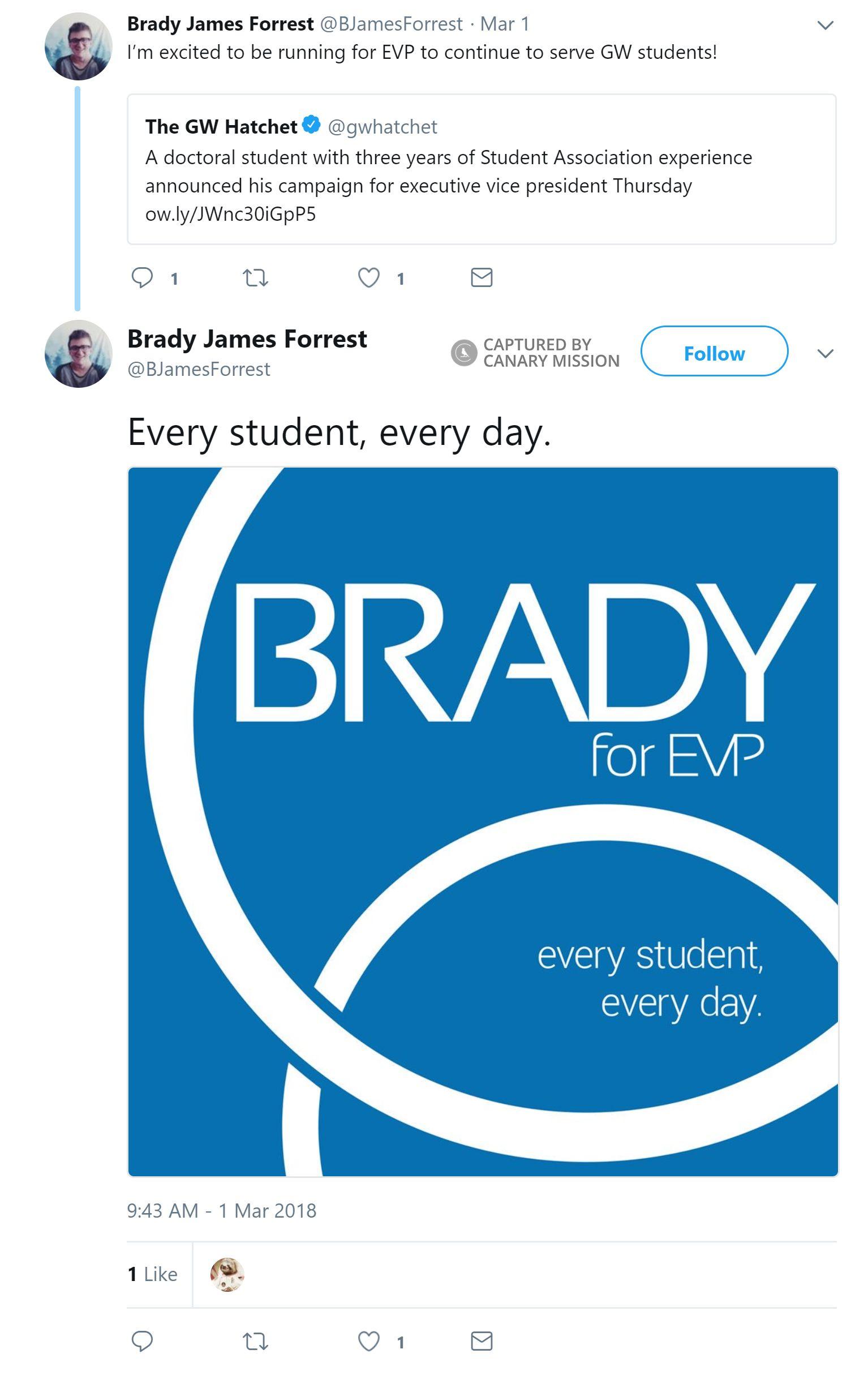 Brady Forrest - Canary Mission